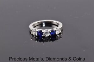 Affinity Sterling Silver Blue Sapphire Cubic Zirconia Band Ring 925 Sz: 6