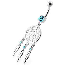 14G 5 mm 925 Sterling Silver Classic Dream Catcher Belly button Ring