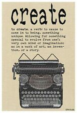 """13""""×19"""" Inspirational Poster CREATE Vintage Typewriter Dictionary Classroom Art"""