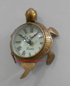 ANTIQUE BRASS  MITH LONDON  WALL CLOCK IN -TORTOISE