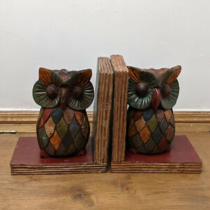 Owl Book Ends Hand Painted Bookends Rustic Colours Rainbow