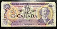 1971 $10 BANK OF CANADA BEATTIE RAMINSKY PREFIX:DH - F+ COND!
