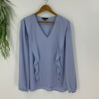 Banana Republic Womens Ella Flounce Blouse Shirt Top Sz Large Long Sleeves Blue