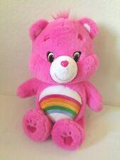 "Cheer Care Bear Plush Stuffed Animal Pink Rainbow 2015 Just Play 14"""