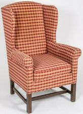 Johnson Benchworks Mahogany Wing Chair Arm Chair Primitive Style Plaid Fabric