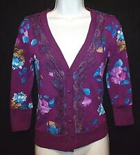 Nordstrom JUST GiNGER romantic purple floral print lace cardigan sweater Jrs S