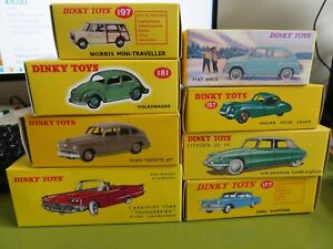 8 ASSORTED DINKY TOYS/ATLAS/DEAGOSTINI CARS  **ALL BOXED**