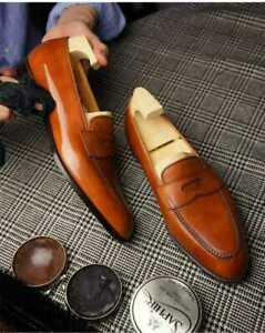 Mens Handmade Shoes Tan Color Leather Slip On Formal Dress Casual Wear Boots New