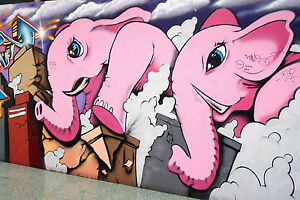 ELEPHANT PINK   GRAFFITI STREET ART PAINTING A1 SIZE PRINT CANVAS Australia