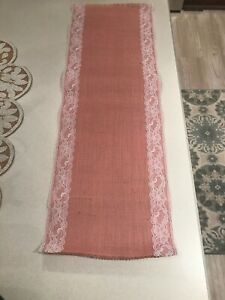 Pink And White Lace Burlap Runner Qty 2