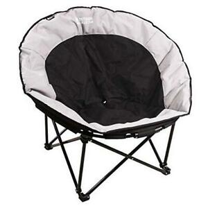 Oversized Moon Chairs for Adults, Comfy Portable Folding Saucer Black Round