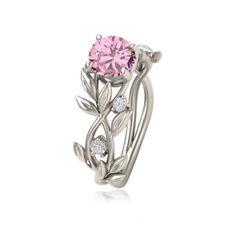 Women Wedding Aquamarine Crystal Ring Leaf Flower Elegant Jewelry Size 5-11