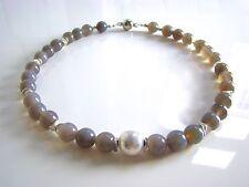 Handgefertigte versilberte runde Echtschmuck-Halsketten
