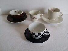 4 Espresso Coffee Cups Italy Caffee Roma Rome Moca Bologna Roversi Checkers