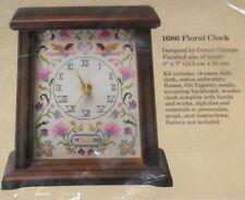 """1988 Donna Giampa Angels """"Floral Wood Clock"""" Cross Stitch Kit NIP"""