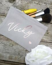 Personalised Grey and rose gold make up bag hen party gift mothers day wedding