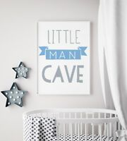 Little Man Cave Banner Blue & Grey Nursery Print Kids Bed Boys Wall Art Picture