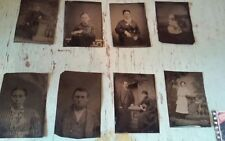 Lot of 8 Civil War Era Tintypes Adults - Children - Victorian Dress!