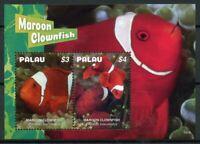 Palau Fish Stamps 2019 MNH Maroon Clownfish Fishes Marine 2v S/S