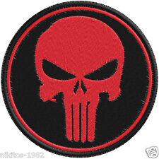 Patch (chevron) Thermo with a skull Chastener red 9х9cm black background
