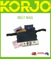 Korjo Belt Bag Fanny Pack 3 zip Pocket Waist Bag Travel Wallet Bum Purse Black