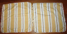 """2 RESTORATION HARDWARE Pillow Covers  Cotton Yellow Brown Ivory Striped 20"""""""