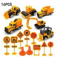 16PCS/Set Kids Mini Metal Construction Truck Car Model Digger Excavator Toy Y2L5