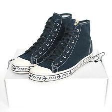 VISVIM navy blue canvas sneakers free fly PTU Cap Toe hi-top shoes 10-US/43 NEW