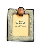 """Monkey Photo Frame Distressed Look Holds 4""""x6"""" Picture Green Brown Freestanding"""