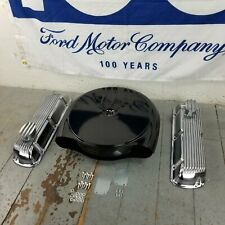 Ford SBF Blk Caddy AC Finned Engine Dress Up Kit PCV Breathers 260 289 302 351W