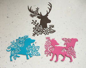 Animal,fox,dog stag floral die cuts x 6 Mother's day, Birthday's ,Anniversary