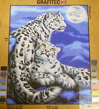 SNOW LEOPARDS - Tapestry/Needlepoint Canvas (NEW) by GRAFITEC