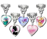 Wholesale Lots Mixed Glass Heart Dangle Beads Fit Charm Bracelets 28mmx12mm