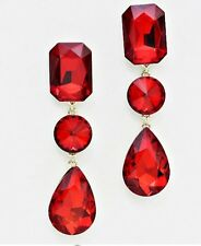 """3"""" Red Gold Dangle Drop Rhinestone Prom Long Crystal Pageant Earrings"""