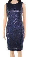Calvin Klein Women's Dress Blue Size 14 Sheath Sequined Sleeveless $179 #240