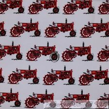BonEful Fabric Cotton Quilt VTG White Red Farm Tractor Country Boy Stripe SCRAP