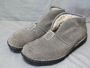 UGG womens slip on low heel gray suede upper wool & suede lining booties SZ 10 M