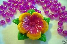 """Tropical Hibiscus Flower Blossom"" Mardi Gras Necklace Bead Survivor Idol (B572)"