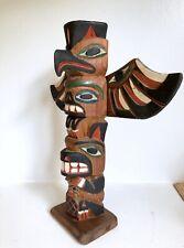 "Totem Pole Hand Carved Cedar Wood 13.5"" Vtg Thunderbird Pacific Northwest Coast"