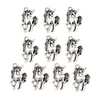 10pcs Unicorn Horse Bead Pendant Charms Fashion Necklace Jewelry Making Silver