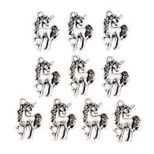 10pcs Unicorn Horse Bead Pendant Charms Fashion Necklace Jewelry Making Silver