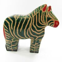 Zebra piggy Coin Bank Leather Shaped animal Green Made in India