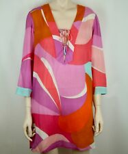 b2a1731a3e EMILIO PUCCI CAFTAN DRESS SWIMSUIT COVER-UP PINK ORANGE WHITE TURQUOISE  IT40 US6