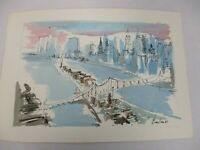 1981 ORIG SIGNED JOE BARKER WATERCOLOR PAINTING NEW YORK CITY EAST RIVER BRIDGE