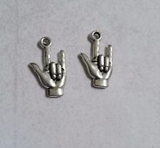 BULK  Sign Language Charms Pendants Antiqued Silver ASL Hand Charms 50pcs