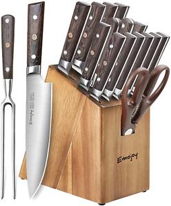 Knife Set 16-Piece Kitchen Knife Set w/Carving Fork Precious Wengewood Handel
