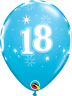 18th Birthday Balloons  x 6 Balloon Pack Pack of 6 Qualatex 18 Sparkle Blue