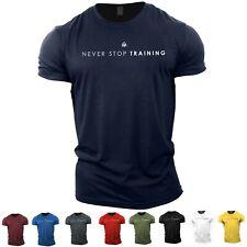Men's Gym T-Shirt   NEVER STOP TRAINING   Bodybuilding top tshirt vest stringer