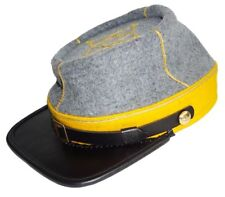 Civil War Cavalry 1st 2nd Lieutenant's Leather Peak kepi,Grey/Yellow 1 row braid