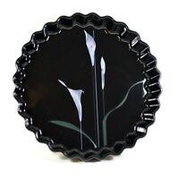 MIKASA Ultra Ceram Bake & Serve Opus Black Lily Round Vegetable Dish Quiche Pie
